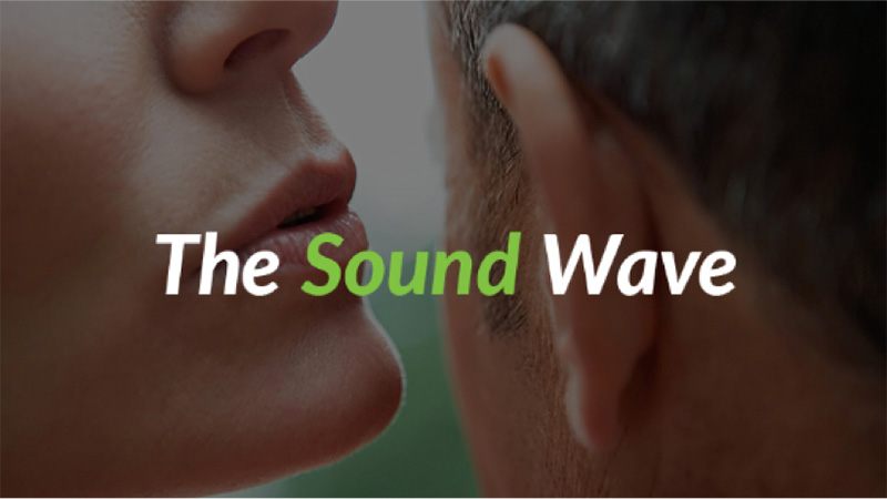 person whispering in ear, the sound wave